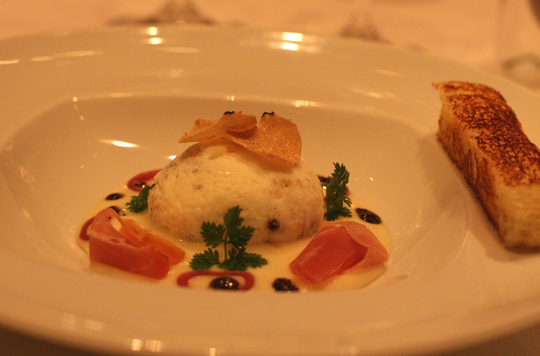 A classic poached farm egg infused with truffles from Burgundy at Chef Mavro.