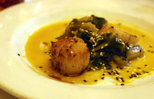 Silky scallops with escarole.