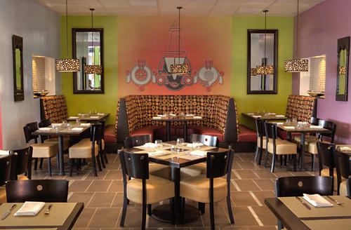 The modern interior of Arka in Sunnyvale. (Photo courtesy of the restaur
