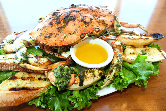 Fresh crab slathered with pesto -- at the Half Moon Bay Brewing Company. (Photo courtesy of the restaurant)