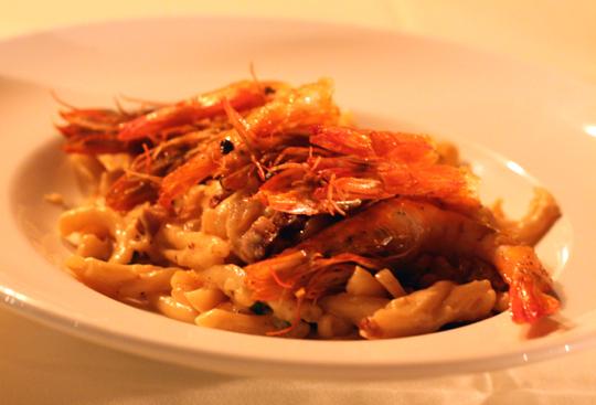 Unbelievably good shrimp carbonara.