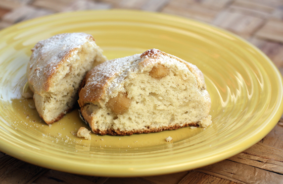 The scones have a crumb that looks like bread, but tastes like cake.