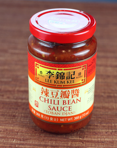 Chili bean sauce found on Chinese market shelves.