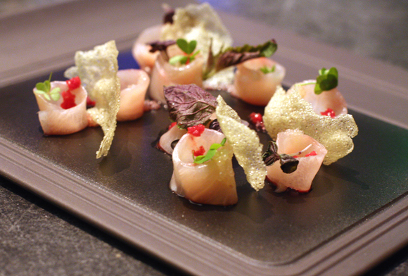 Kampachi sashimi at Parallel 37. One of the prettiest dishes you'll ever eat at a bar.