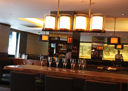 The communal tables in the lounge area.