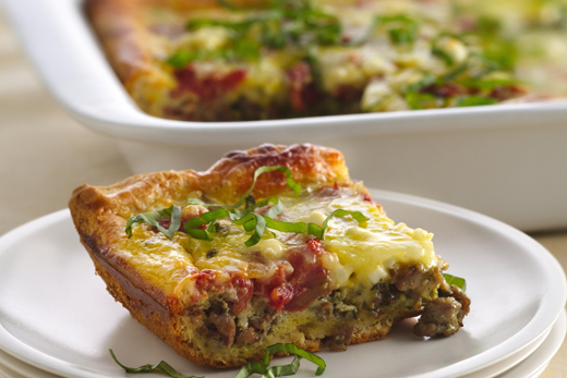 Sausage-pomodoro brunch bake. (Photo courtesy of Pillsbury)