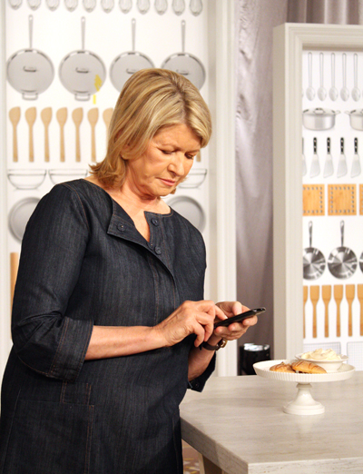 Martha Stewart on the set at the Peabody Hotel. Tweeting, perhaps? (Photo by Carolyn Jung)