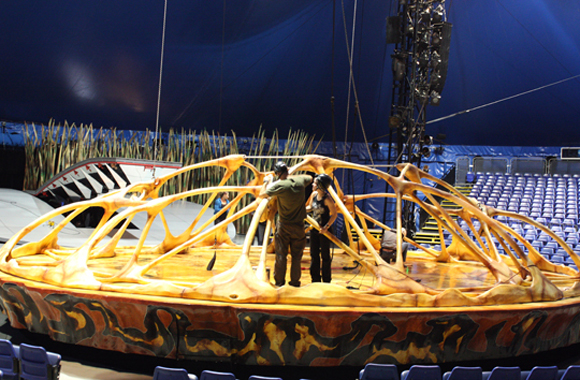 "Crew members touch up the stage for Cirque du Soleil's ""Totem'' in San Jose."