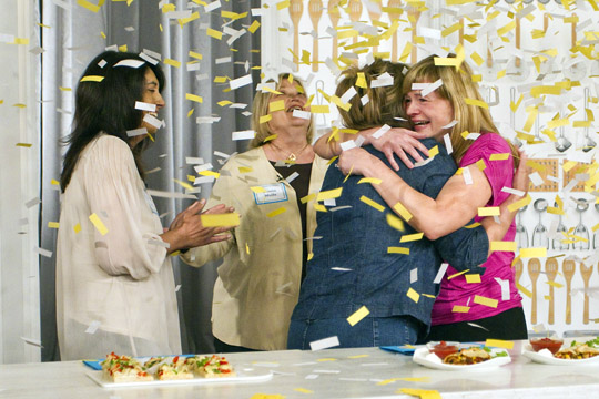 Christina Verrelli is congratulated by her fellow contestants. (Photo courtesy of Pillsbury)