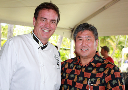 Peter Merriman (left) and Alan Wong (right) at the Maui Agricultural Festival.