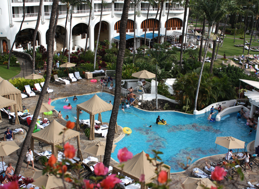 Take a dip in the pool at the luxurious Fairmont Kea Lani.