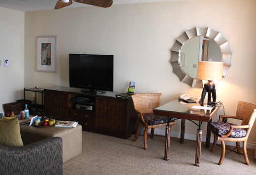 The sitting area of the suite, complete with coffee maker, fridge and microwave
