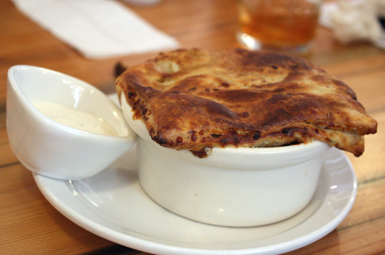 This flaky, golden pot pie holds a short rib filling.