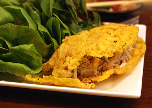 iVietnamese crepe -- tear off a piece, wrap in lettuce with mint, and enjoy.
