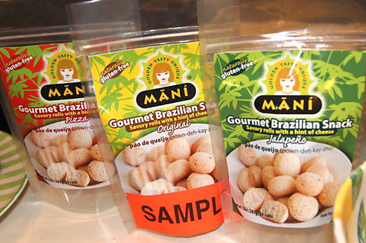Packages of Mani Brazilian snack breads. (Photo by Barry and Eva Jan)