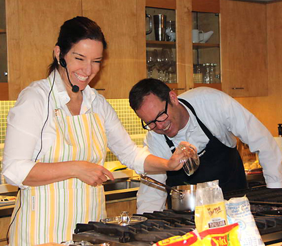 Monika Batista and Chef Earl Shaddix get cooking in the Macy's Cellar. (