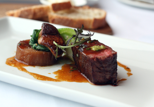 Wagyu with seared foie gras -- does it get more decadent than that?