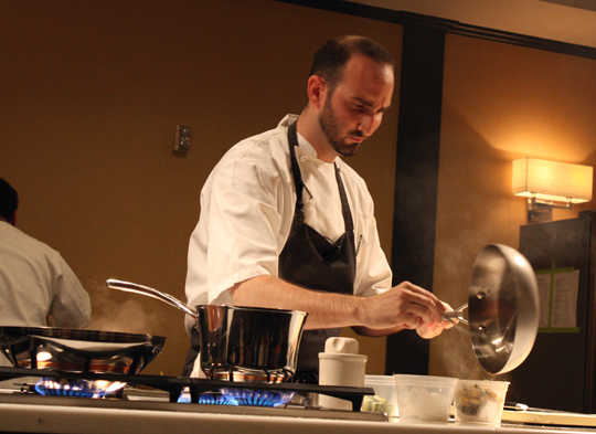 On the opposing team, Chef Omri Aflalo of Bourbon Steak, readies his dishes.