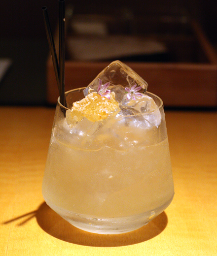 The playful Bee's Elbow cocktail.