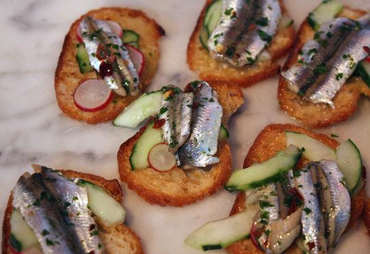 Delfina's sardine crostini.