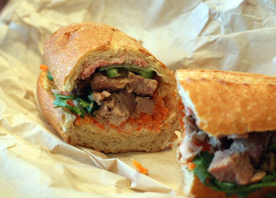 Roast pork banh mi with house-made pate. (Photo by Carolyn Jung)