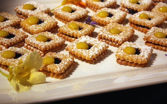 Waterbar's linzer cookies with lemon curd and blueberry jam.