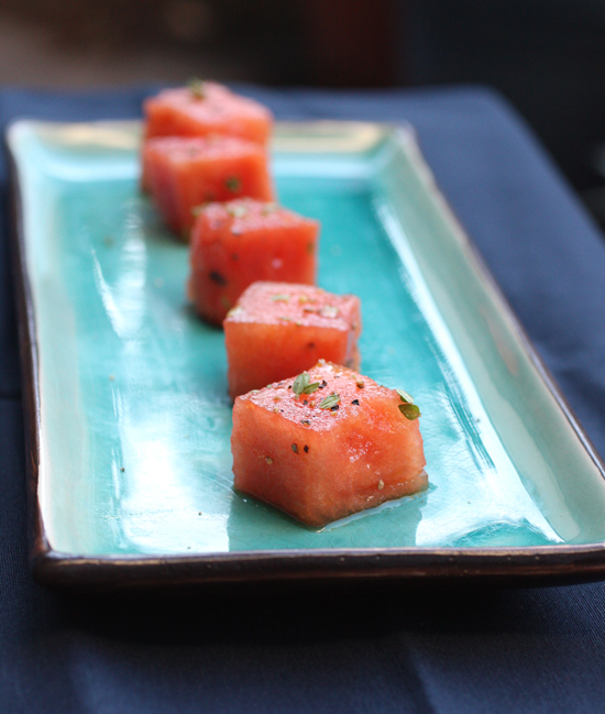 It resembles tuna sashimi, but it's really watermelon in disguise.