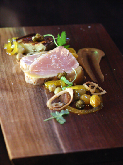 Seared albacore with the brightness of capers and citrus.