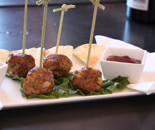 Lamb meatballs with a Pinot reduction sauce.