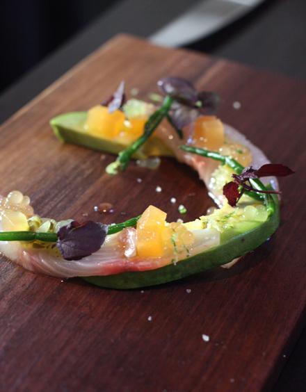 """Kona Kampachi crudo with cantaloupe """"caviar.''"""