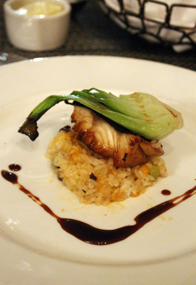 Melt-in-your-mouth black cod on a mound of shiitake sticky rice.