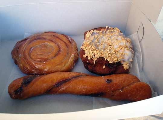 A cinnamon roll, bear claw and the signature 11-inch Tiger Tail donuts.