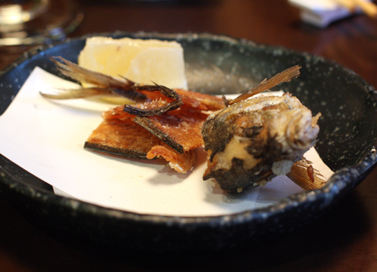 The aji in the center of the sashimi platter? Its skeleton was deep-fried, then presented to us afterward for nibbling pleasure.