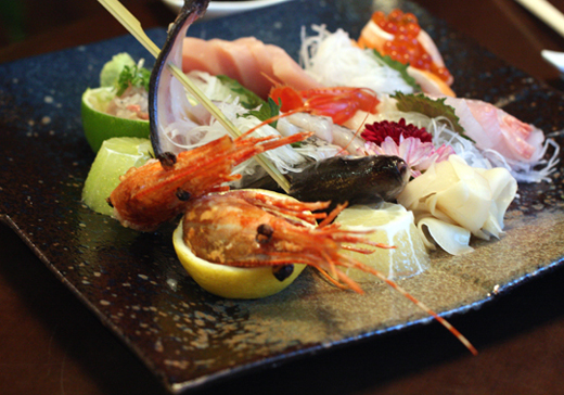 A sampler platter of the best sashimi of the day.