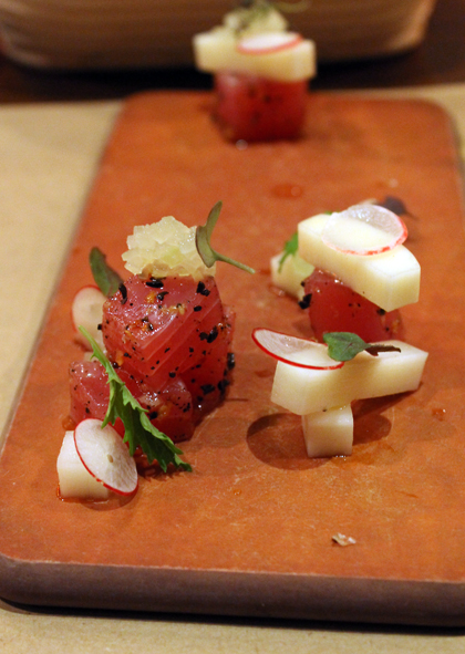 Ahi tartare with the bright zing of green apples.