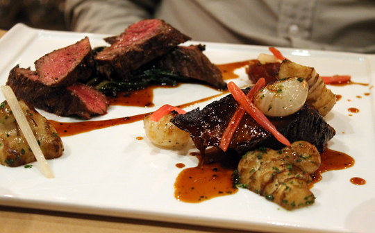Beef redux: Short ribs and hangar steak.