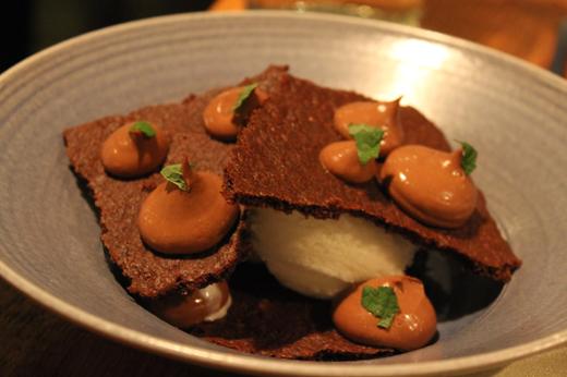 Chocolate sables with milk ice cream and chocolate mint cream.