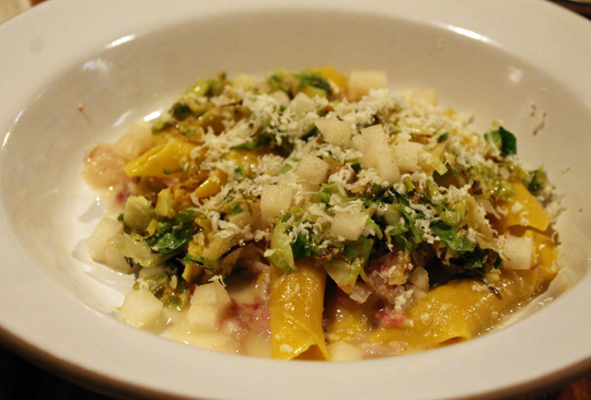 Brussels sprouts, pork trotters and horseradish flavor this bowl of garganelli.