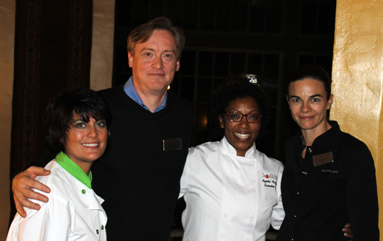 (L to R): Chef Ariane Duarte of CulinAriane; Doug Welsh, master roaster of Peet's Coffee; Chef Nyesha Arrington of Wilshire; and Suzanne Goin of Lucques.