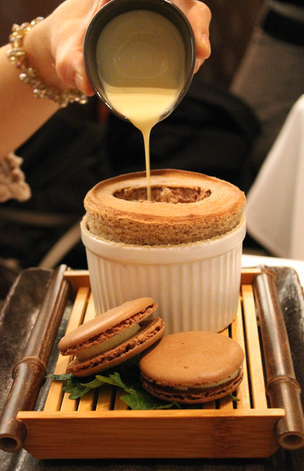 TThe chocolate souffle at The Sea by Alexander's Steakhouse in Palo Alto.