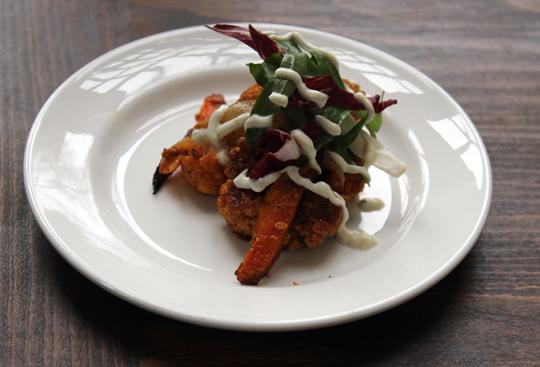 Suzanne Goin's curried cauliflower with roasted carrots and tahini yogurt.