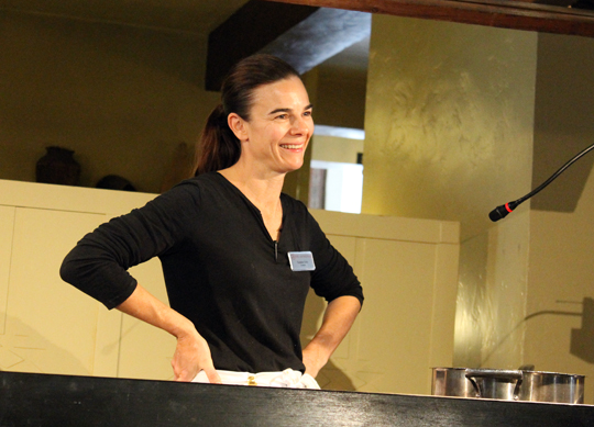 Chef Suzanne Goin of Lucques on the demo stage.