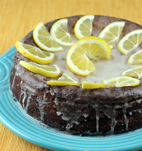 It's topped with a lemon glaze and slices of fresh lemon.