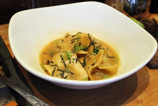 Tender mushroom dumplings in dashi broth.