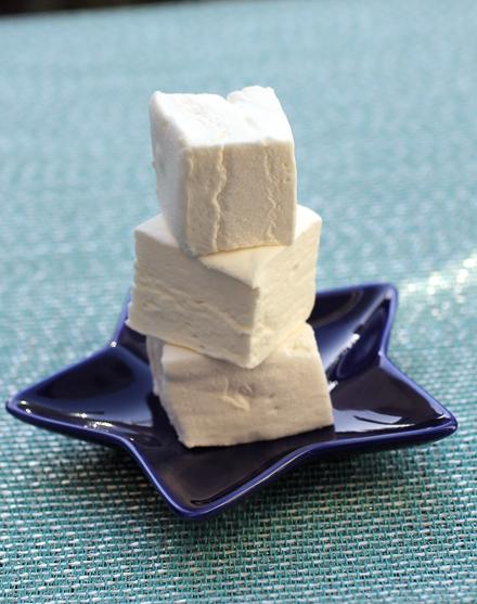 Vanilla marshmallows that are hand-cut.