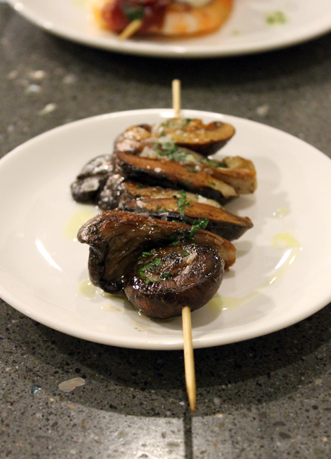A simple, yet sublime, mushroom brocheta at the new Donostia in Los Gatos.