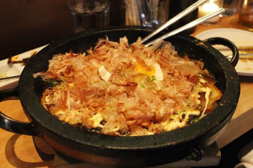 The massive okonomiyaki.