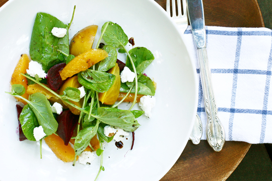 Roasted beet and watercress salad. (Photo by Michele Min)