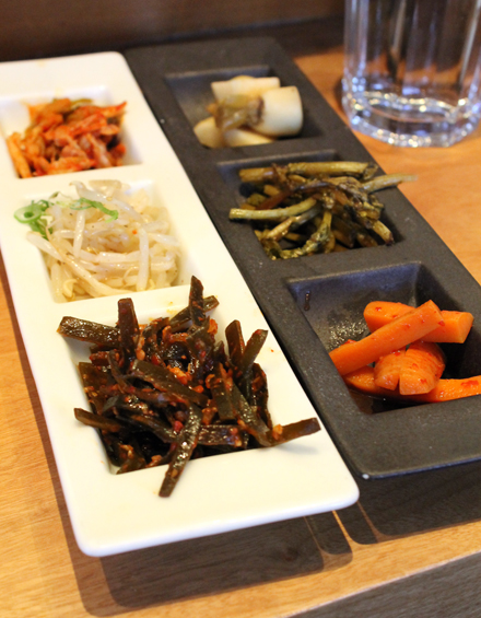 That evening's banchan (left) and pickles (right).