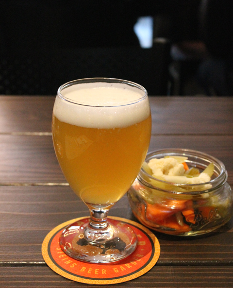 Hitachino White Ale with pickled veggies for nibbling.